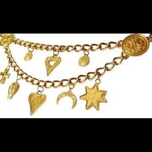 Vintage ESCADA Heavy Gold Chain Charm Belt